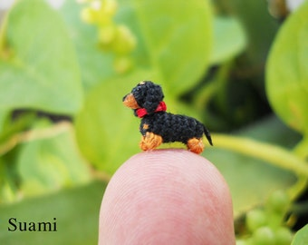 0.26 Inch Extreme Micro Dachshund Sausage Dog - Dollhouse Miniature Crochet Dog Dachshunds - Made To Order