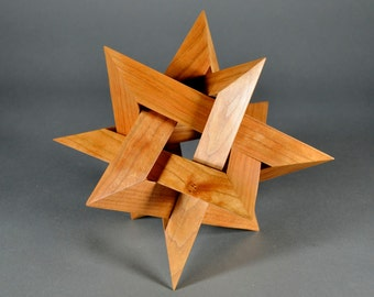 Wood 12 pointed Star sculpture, in cherry