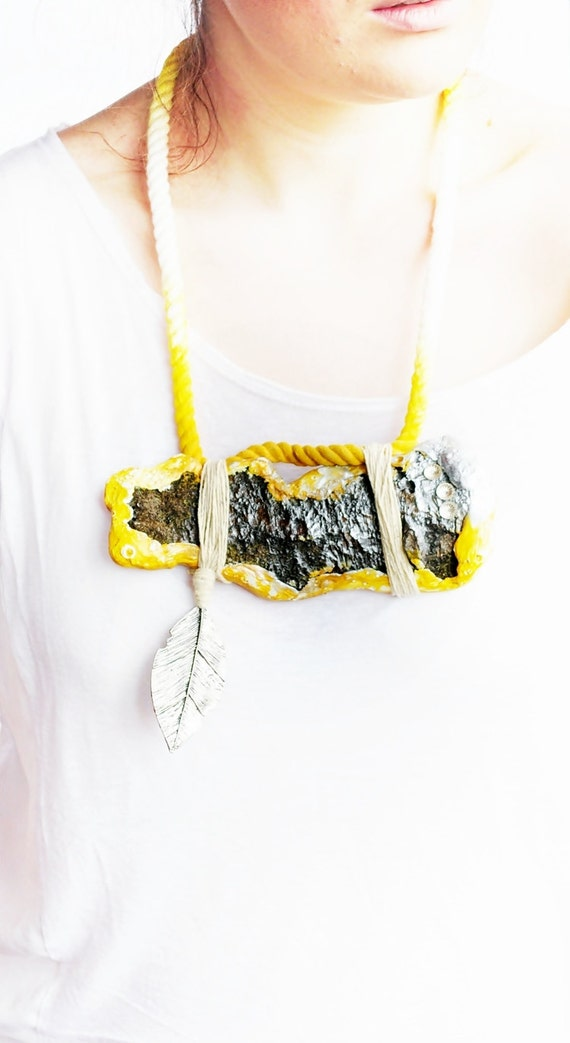 In the name of yellow - driftwood bark necklace
