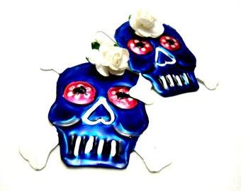 blue pirate skull tin earrings