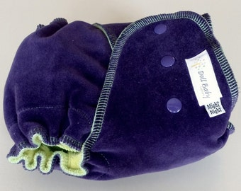 Fitted Diaper in Plum - MighT NighT - OS 12lbs-35lbs - serged lime cv