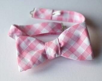 Pink gingham bow tie - freestyle - men's bowtie - adjustable