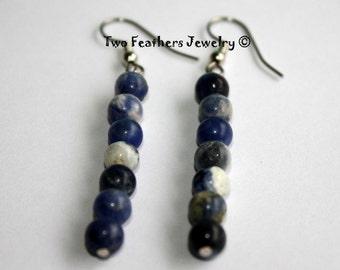 Sodalite Earrings - Beaded Earrings - Blue Stone Earrings - Natural Stone - Gift For Her - Gift Under 20 - Denim Blue - Dangle Earrings