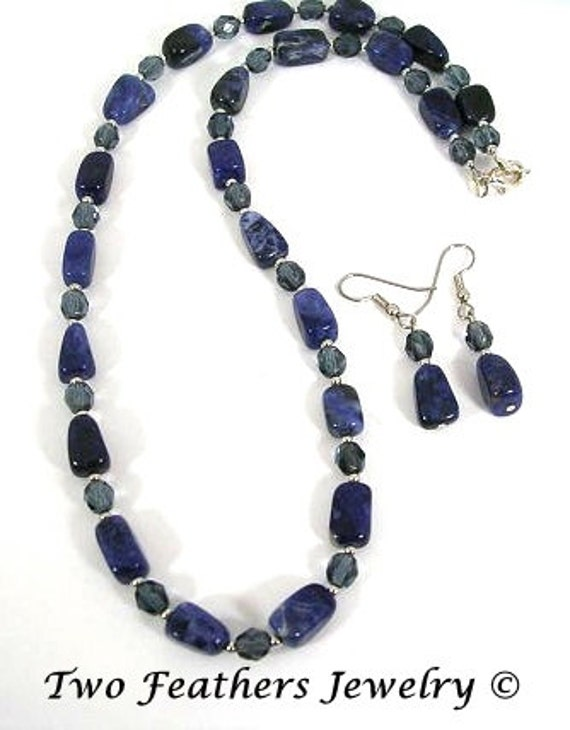 RESERVED For BETSY - Sodalite Necklace - Sodalite Earrings - Montana Blue - Czech Glass - Gift For Her - Matching Set