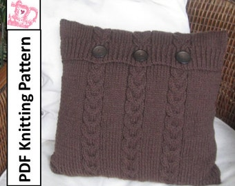 """PDF KNITTING PATTERN, cable knit pillow cover pattern, 16""""x16"""" pillow cover, Chocolate Buttons Triple Cable knit  pillow cover"""