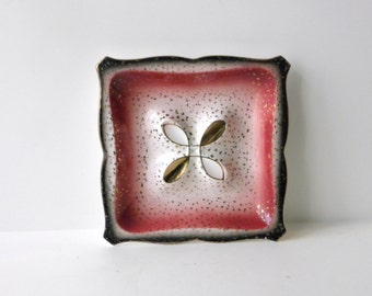 Vintage Lefton Dish, Pink and Black Wall Hanging, Mid Century Ashtray