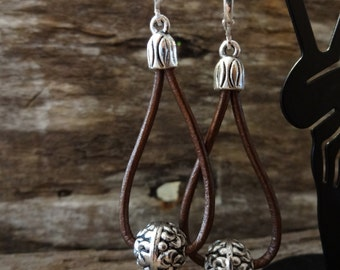Boho Leather Wrap Dangle Silver Ball Earrings