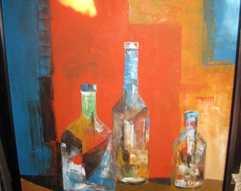 Abstract Palette Knife Oil Original Signed by Artist