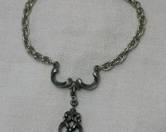 Scandinavian Pewter Bracelet, Retro era Ethnic Folk Festive Wear