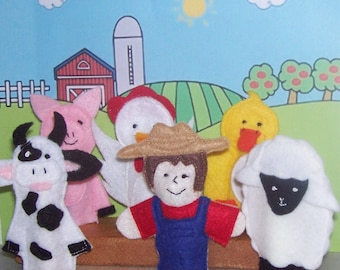 Old Mc Donald Farmyard set of 6 Original Felt Finger Puppets for Imaginative Play and Learning