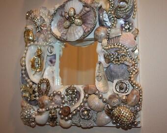"Custom Made Sparkling Sea Shell Jewelry  Mosaic Mirror ""PATTI"" SOLD"