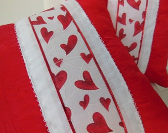Red Pillow - Heart Pillow - Ribbon Pillow - Red Heart Ribbon Design Pillow - Red and White  -  15 x 15 Inch - Pillow Insert Included