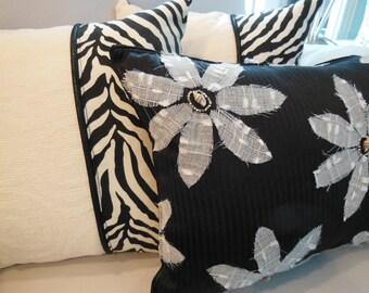 Black Pillow - Sale Price - Seashell Bead Pillow - Flower Pillow - 12 x 16 inch - Pillowscape Designs' Handmade Seashell Bead Flower Design