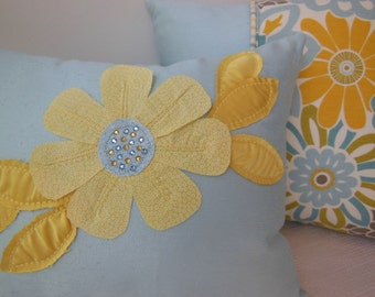 Yellow Flower Appliqued Pillow - Gem Beaded Designer Blue Pillow - Yellow Pillow 12 x 16 inch - Pillowscape Designs' Handmade Flower Design