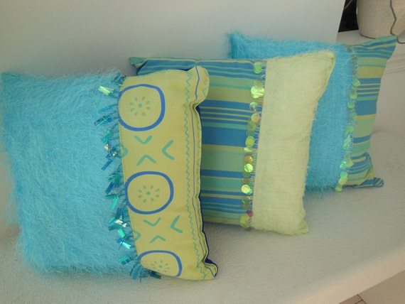 College Dorm Pillow Clearance - Set of Three Decorative Pillows - Girl's Bedroom - Bead Trim Fuzzy Design (Lime Green, Aqua, Blue) Pillows