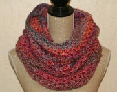 CLEARANCE SALE -  Sherbert Pink/Purple/Orange Soft Extra Large Scoop Victoria Cowl - Neck Warmer - Ready To Ship - Handmade & Crocheted