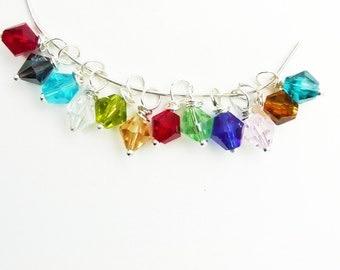 Birthstone jewelry charms, Swarovski Crystal Dangle/Drop Charms - Birthstone Set- 12 Charms - 6mm - Bicone - Wire Wrapped