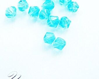 Aqua crystal beads, bicone crystal beads, 6mm bicone beads,