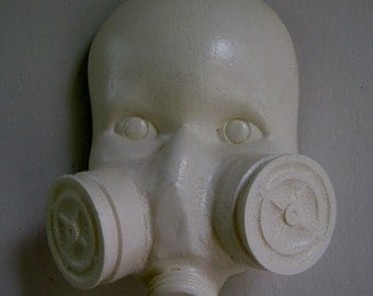 White Gas Mask Doll - resin sculpture