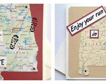 Alabama - Run (or RAN) That State or Enjoy Your Run or Race Handmade Running Greeting Card for Marathon, Half-Marathon, 10K, 5K Runners