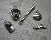 5 Baseball Charms in Silver Tone - C1467