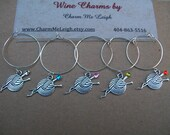 Set of 6 knitting sewing crochet wine glass charms adorned with swarovski crystals