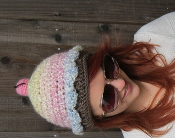 Cupcake Hat, Birthday Cake with a Cherry on Top (crochet dessert food beanie)