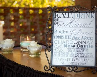 Fun Wedding Reception Bar Menu Sign