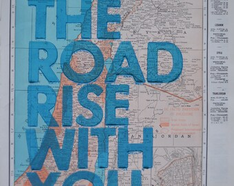 Palestine and Syria   / May The Road Rise With You/ Letterpress Print on Antique Atlas Page