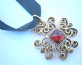 Vintage Garnet Necklace Vintage Gold Necklace Faux Garnet Pendant Gold Yosca Necklace Vintage Gerard Yosca Jewelry Vintage Byzantine Pendant