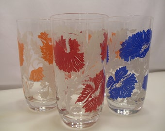 Retro Kitchen Decor Bold Flower Design Glass Tumblers Set of  5