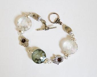 Beaded bracelet, charm bracelet, Hamsa charm bracelet, copper, crystals, hamsa, evil eye, silver bracelet