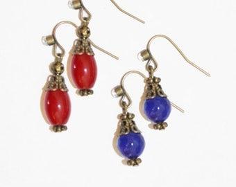 dangle earrings, ruby dangle earrings, sapphire earrings, blue, red