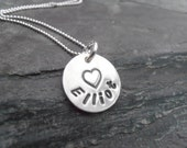 Personalised silver necklace, metal stamped pendant,name necklace