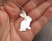 Sterling silver bunny rabbit necklace, easter bunny gift