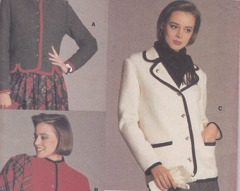 Vogue 9382 Size 12 jacket sewing pattern from 1985 boiled wool mohair fleece