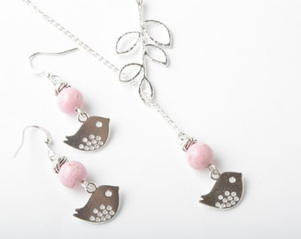 Silver bird and branch lariat necklace with pink fossil stone- silver plated chain- bird jewelry