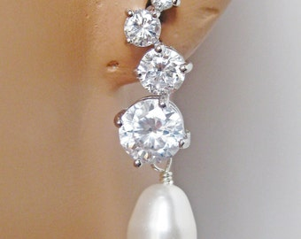 Cubic Zirconia Bridal Earrings. Rhinestone Bridal Jewelry. Bridesmaids Jewelry. Wedding Jewelry. Bridesmaid Earrings