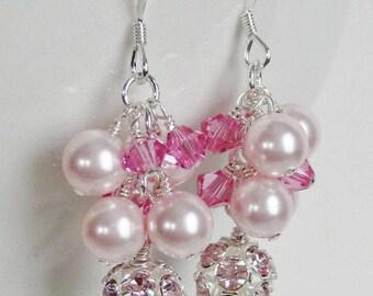 Egyptian Pink Crystal Earrings, Swarovski Crystal Pink Pearls, Bridal Earrings, Bridesmaids Earrings