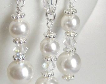 Pearl Drop Bridal Jewelry, Bridesmaids Gifts, Wedding Jewelry Set, Bridesmaids Jewelry Set