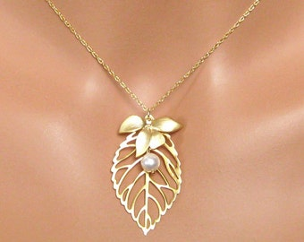 Bridal Necklace, Leaf Charm Gold Bridal Jewelry Bridesmaids Gift Wedding Jewelry Bridesmaids Jewelry