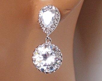 Cubic Zirconia Wedding Earrings, Simple Bridal Earrings, Bridesmaids Earrings, Wedding Gift