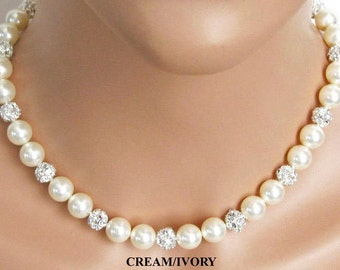Classic Pearl Wedding Necklace, Vintage Style, Rhinestone Bridal Jewelry, Mother of the Bride Necklace, Wedding Jewelry