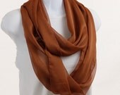 Striking Infinity Scarf - Soft Copper - Lovely Wide Sheer  ~ SH125-L5