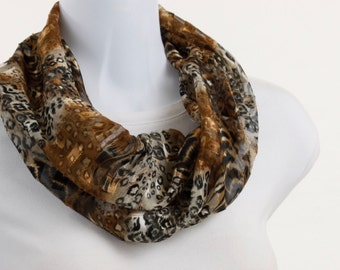 Sheer Leopard Print Infinity Scarf Dramatic Accessories with a METALLIC copper thread ~ SH058-S5