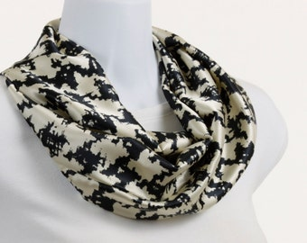 Silky Houndstooth Infinity Scarf - Abrstract Blue Black Houndstooth Design on Ecru ~ SK103-S5