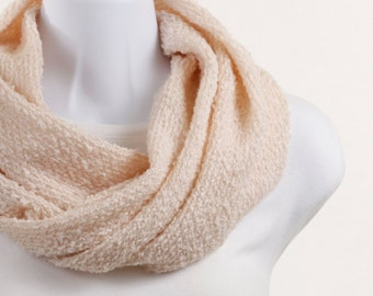 Soft Salmon Pink Woolly Infinity Scarf - Super Soft ~ WL015-S5