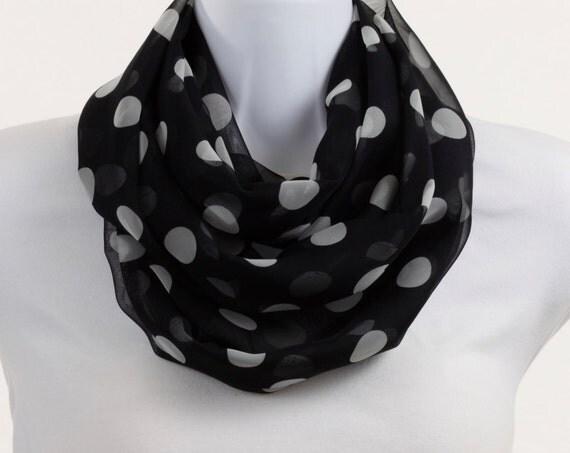 Sheer Infinity Scarf - White Polka Dots on Jet Black