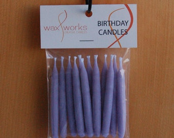 Set of 12 Light Purple Soy Birthday Candles