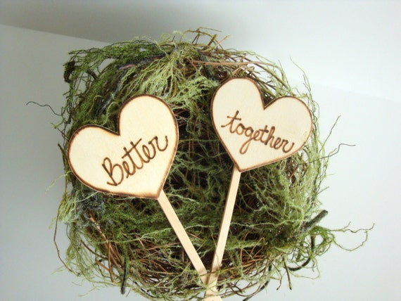 Rustic cake toppers, wooden hearts true love, custom, personalized wedding, shabby chic